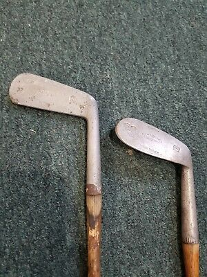 190cc92f62e (2) Hickory Wood Shaft Golf Clubs Burke Columbia Set Putter   Mashie Niblick
