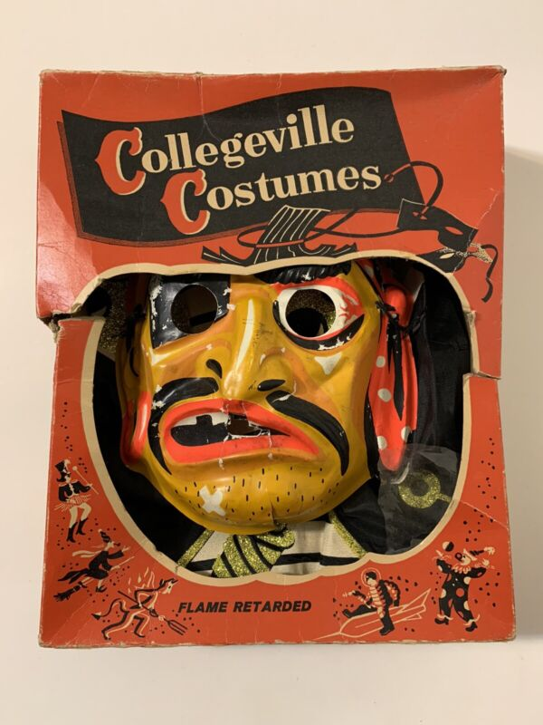 Vintage 60s Collegeville Pirate Halloween Costume And Mask Small With Box 1960s