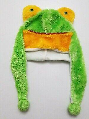 NEW *D/&Y* GREEN FROG TRAPPER ANIMAL WINTER FLEECE LINED WOOL EARFLAPS KNIT HAT