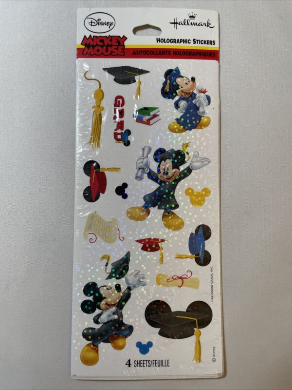 Disney Hallmark Mickey Mouse Graduation Halographic Stickers 4 Sheets New