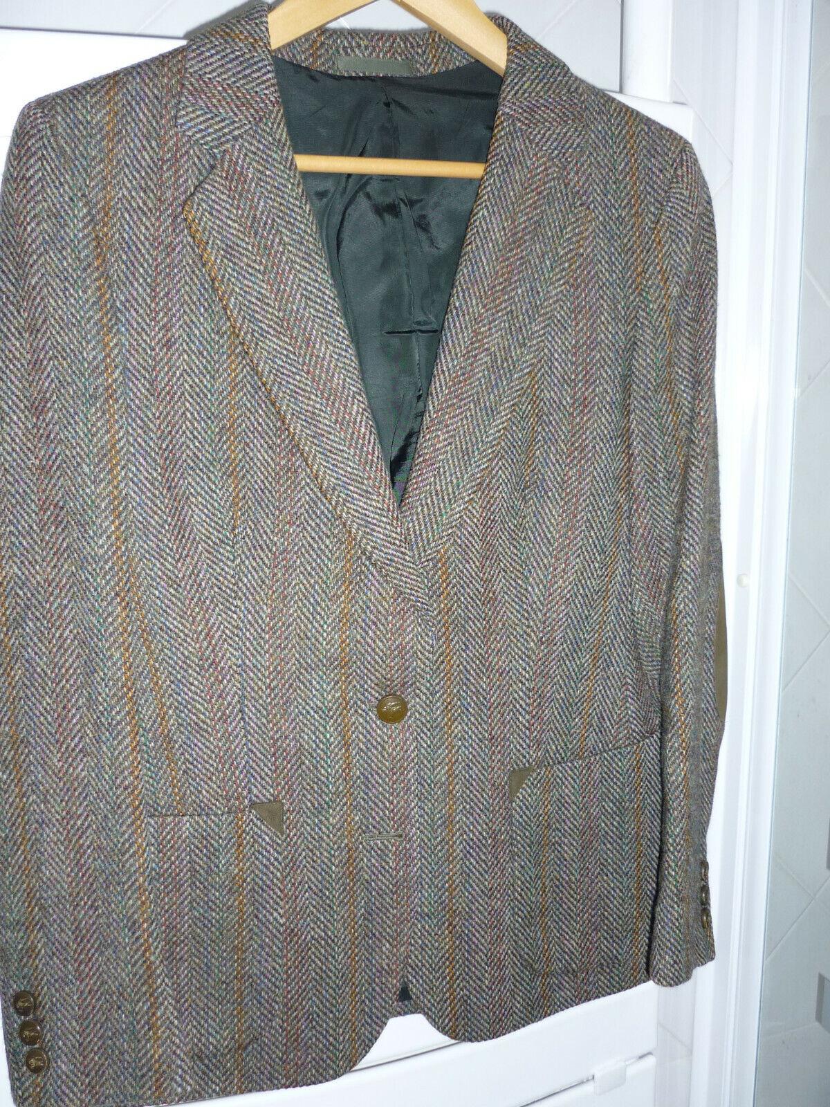 Authentique burberrys veste tweed shetland chevrons  bronze 100 % laine t 40 tbe