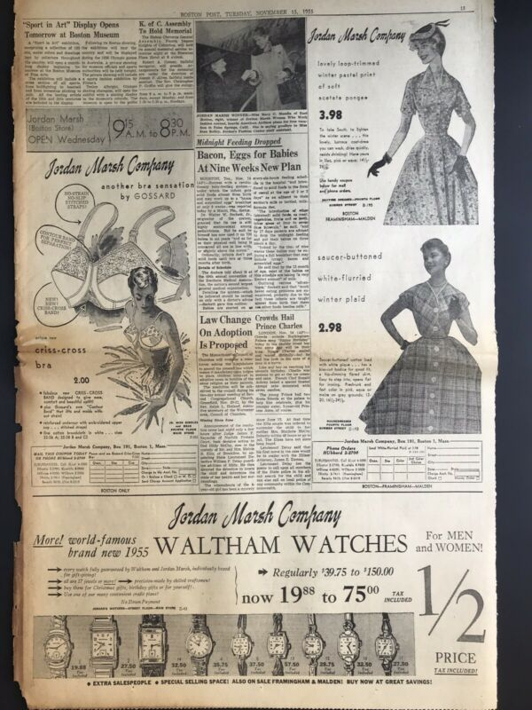 Vintage 1950's Newspaper Ads Jordan Marsh Company Dresses, Bras & Watches