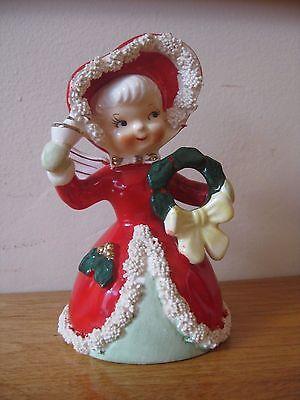 Vintage Napco Christmas Angel/Girl Bell Figurine Spaghetti Trim Bell & Wreath