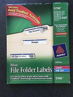 Avery-5766 Blue File Folder Labels - 13 Cut 23 X 3 716 Acid Free