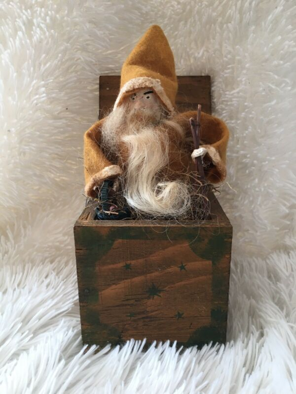 Primitive Santa Belsnickel Father Christmas Vintage Look Grubby in Wooden Box