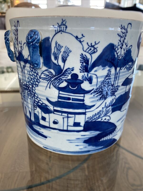 Antique Chinese Blue & White Cache Pot