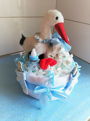 Windeltorte ♥ Klapperstorch ♥ Geburt Taufe Babyparty Junge