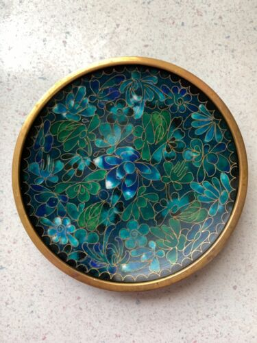 Vintage Cloisonné Trinket Dish Brass