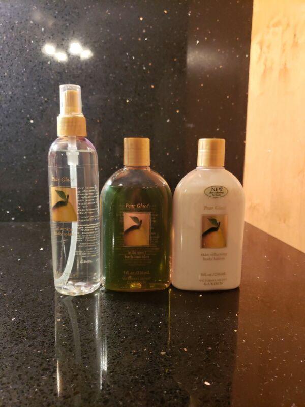 Victorias Secret Garden Pear Glace Silkening Body Lotion/ Spray and BathBubbles