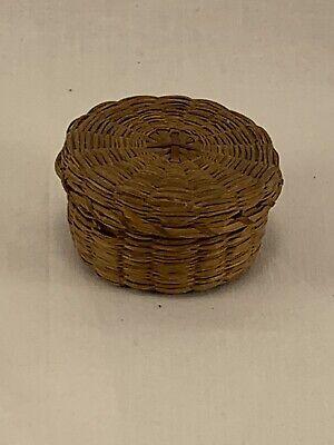 Vintage Miniature 2-1/4' Brown Wicker Basket