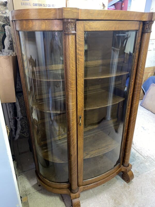 Antique Oak American China Display Cabinet Curved Sides Curio Bookcase