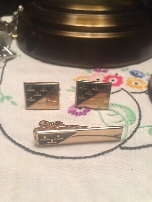 Vintage Swank Cufflinks  And Tie Clip Set Gold for sale  Corsicana