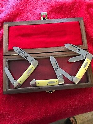 RARE CASE XX 1984 CHEROKEE INDIAN KNIFE SET # 2 - 3 CANOE KNIVES SERIAL # 243