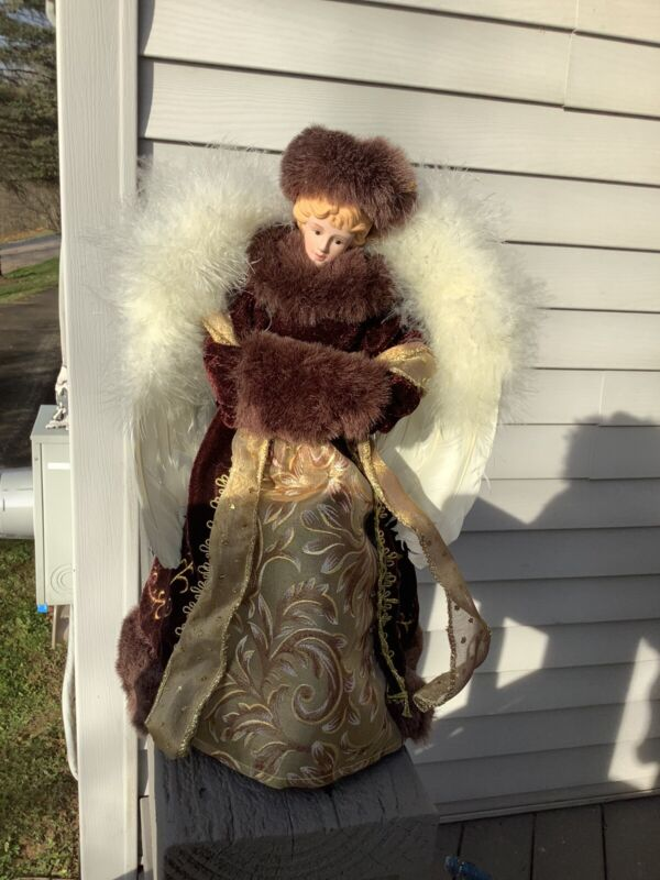 Beautiful 13 Inch Porcelain Doll Angel Tree Topper Shades Of Brown