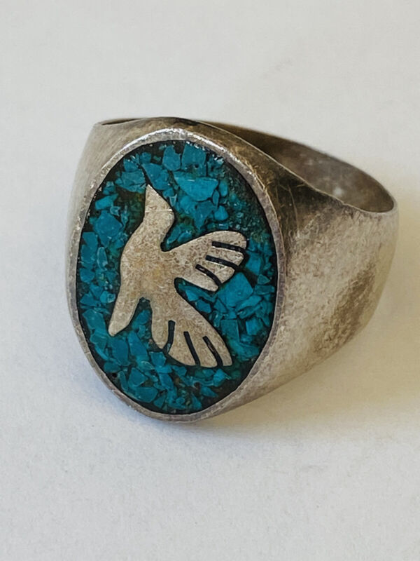 Vintage Sterling Silver Mexico Taxco Turquoise Eagle Mark 3 Bird Men's Ring 10