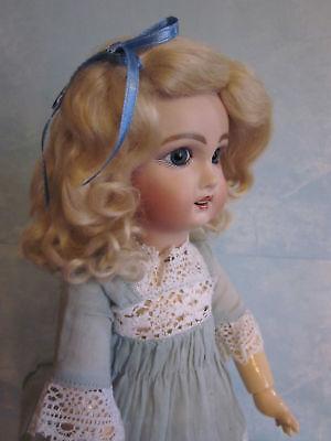 Lettie Dark Blonde mohair wig for antique French German bisque doll size 15 -16