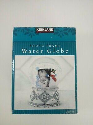 NEW- Kirkland Photo Frame Musical Water Globe Picture Frame Snow Globe Music Box