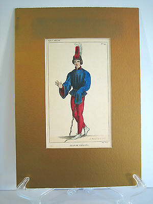 Hand Colored Engraving Ancient French Costume History Paul LaCroix Paris Series