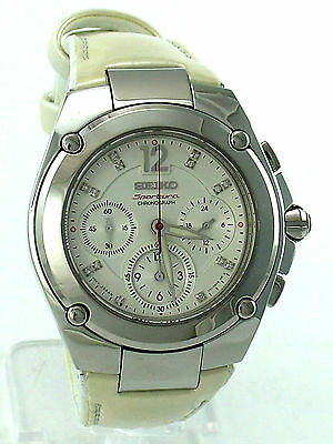 SEIKO Women SRW897 Genuine Diamonds Chronograph White Dial Retail $875 Authentic