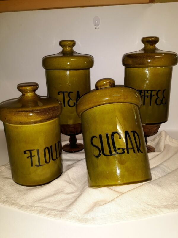 Lot of 4 Vintage Holiday Design Canisters