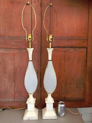Pair Mid Century Barovier & Toso Murano Glass & Marble Italian Table Lamps