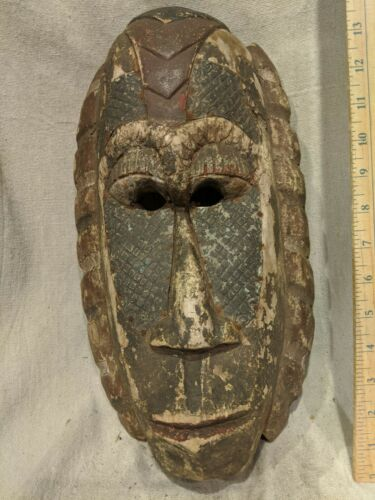 Very Old Mask with Hammered Metal Features — Authentic Carved African Wood Art