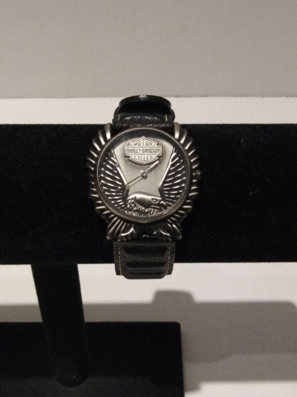 Harley Davidson Bulova Watch Eagle Face Leather Original Band Needs Battery