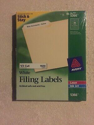 Avery 5366 White File Folder Labels, Sealed 1500 Pack, Laser & Inkjet - Avery Laser Printer File Folder