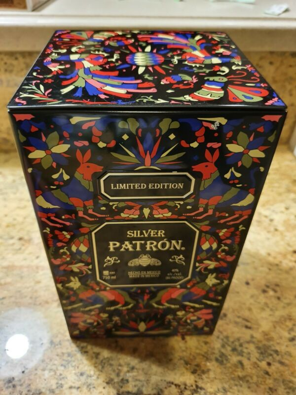 Beautiful Silver PATRON Limited Edition Empty Metal Tin