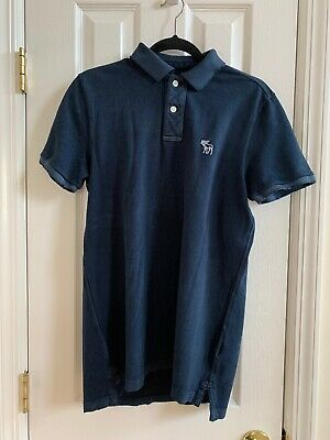 MENS abercrombie & fitch POLO SHIRT SOLID NAVY BLUE SIZE MEDIUM SHORT SLEEVES