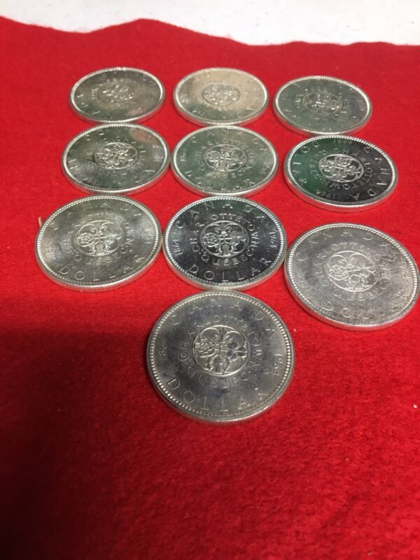 Lot Of 10 1964 Canada Silver Dollars UNC