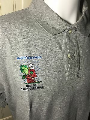 Metlife Auto   Home National Catastrophe Snoopy Polo Gray Ss Shirt Size L