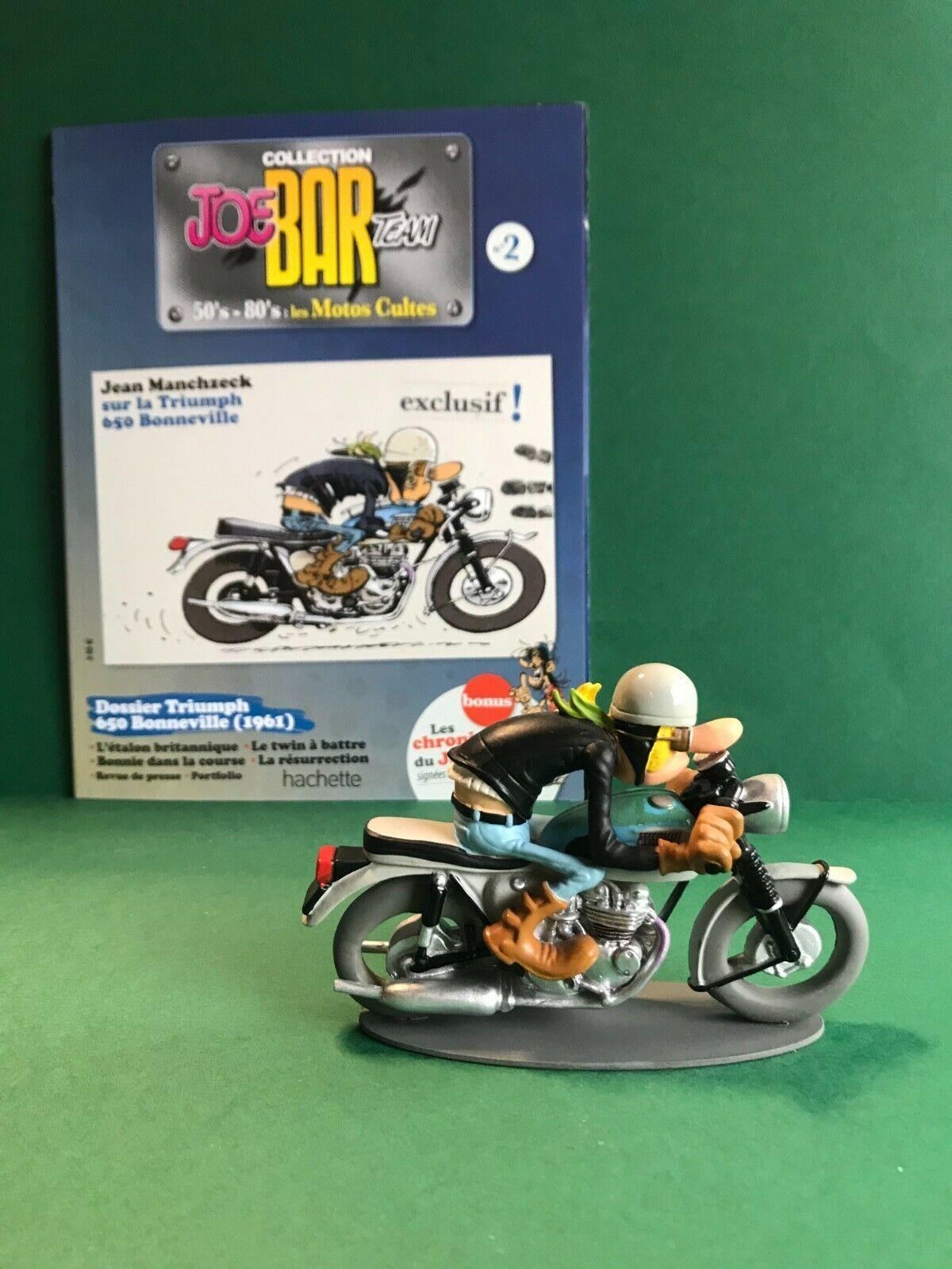 Figurine joe bar team & livret moto triumph 650 bonneville