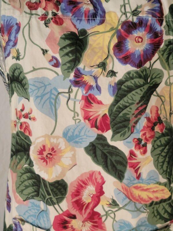 Vintage Cotton Full Apron Cottagecore Morning Glories Floral Grandma