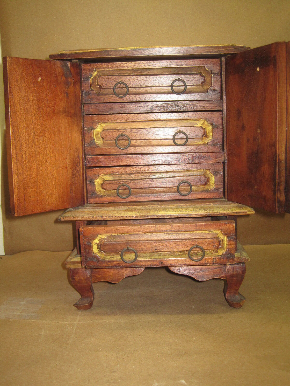 Antique Miniature Doll Cabinet Hand Carved Wood With Four Drawers & Two Doors