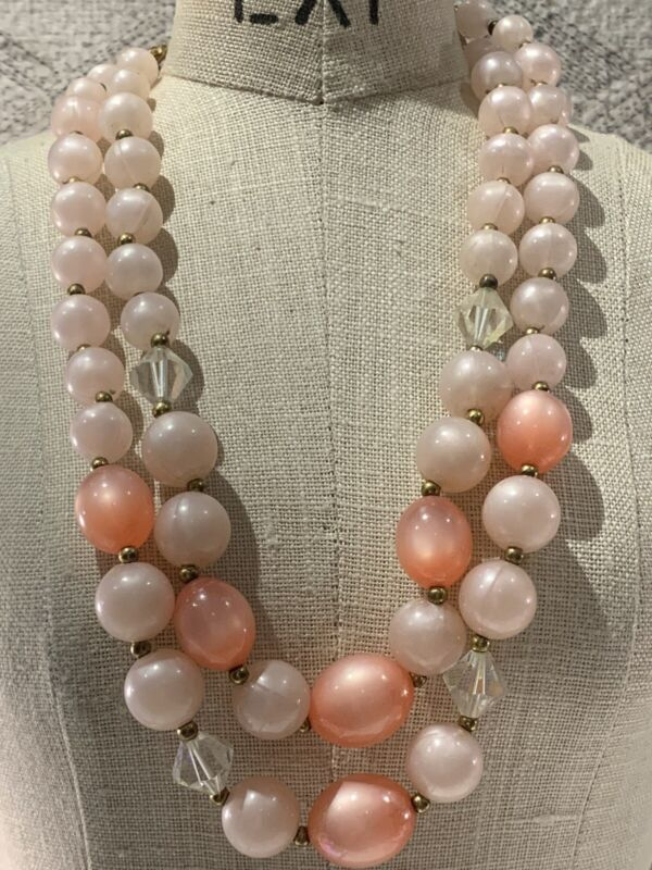Vintage Lisner Pink Lucite Pink Moonglow Crystal Double Strand Necklace