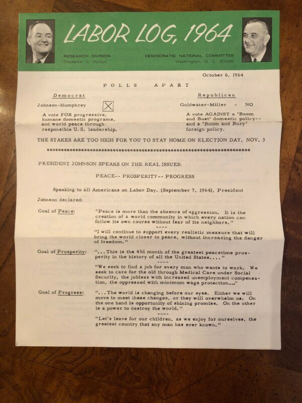 Vintage Democratic National Committee LABOR LOG 1964 Vote Presidential Ephemera