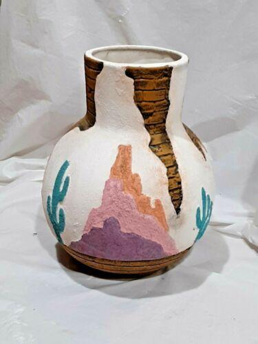 "Vintage Southwest Pottery Vase  With Cactus 9"""