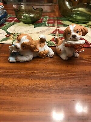 Homco spaniel puppy dogs chewing shoes collectible figurines1405