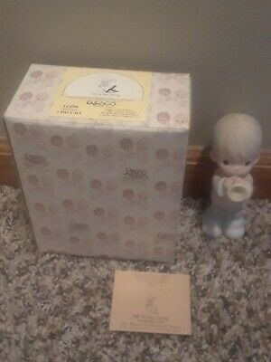 1984 Enesco Precious Moments He Is My Song Boy Figurine In Box without Dog