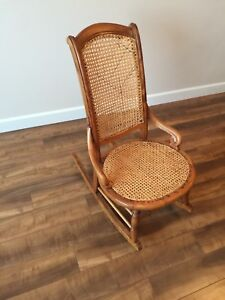 Antique Rocking Chair with Cane Back and Seat