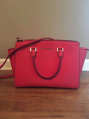 michael kors red orange leather handbag With Handles & Strap