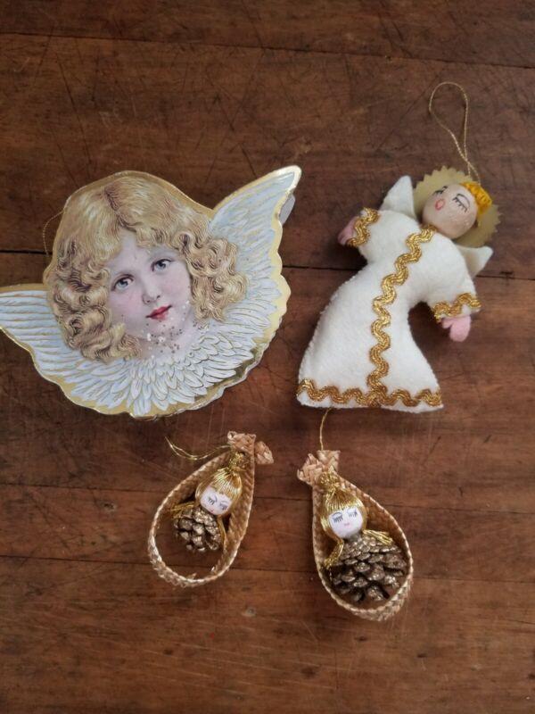 Lot Of 4 Vintage Angel Ornaments Felt Spun Cotton Pinecone 1981 Merrimack