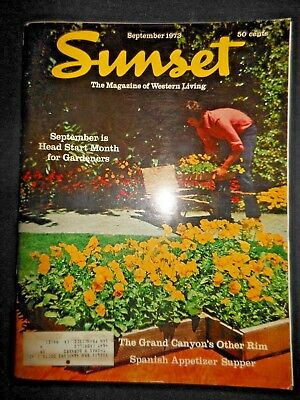 Sunset Magazine Sept 1973 Grand Canyon North Rim Humboldt Bay Bottle Hollow  Ads