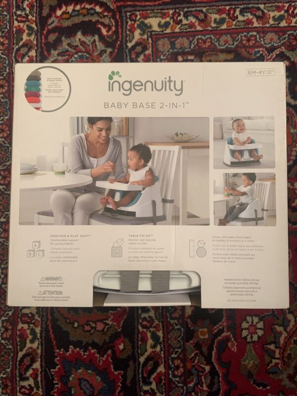 Ingenuity Baby Base 2-in-1 Booster Feeding Floor Seat & Self-Storing Tray Blue