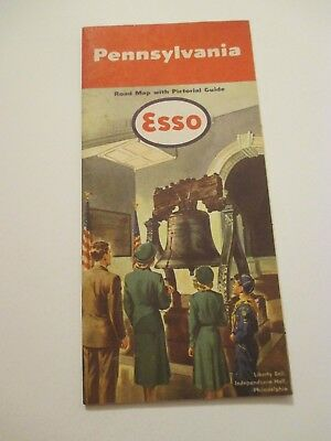 Vintage 1951 ESSO Pennsylvania Oil Gas Service Station Road Map