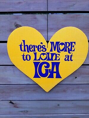 Vintage Grocery Store IGA Heart Sign Neon Hang Tag Display groovey Movie Prop
