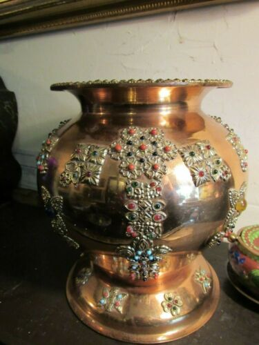 LARGE VINTAGE COPPER VASE WITH GLASS JEWELS/STONES