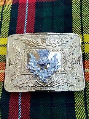 Men's Thistle Kilt Belt Buckle Gold Plated & Chroe Finish For Kilt Belt