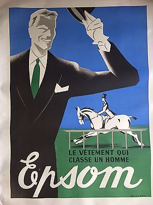 Original Vintage French Men's Fashion Poster, Mounted on Linen, 1950's